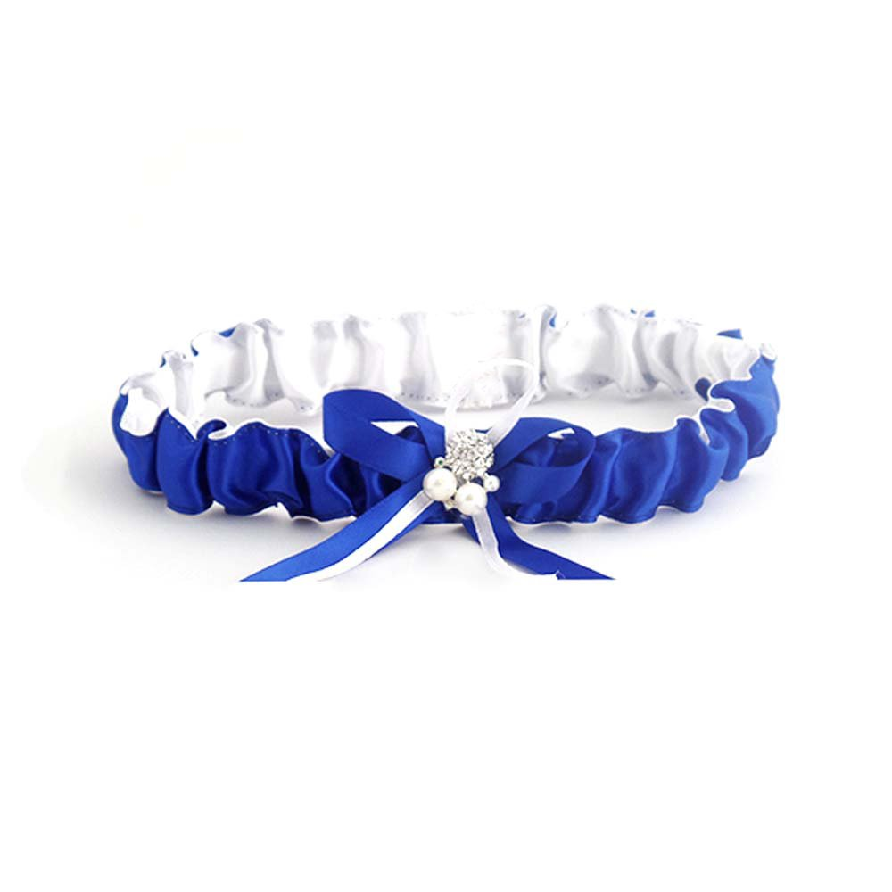 Gifts Are Blue Royal Blue Satin Bride Wedding Garter with Pearl and Ribbon