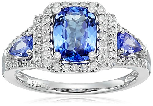 10k White Gold Tanzanite and Diamond Ring (1/3 cttw, H-I Color, I2-I3 Clarity), Size 7