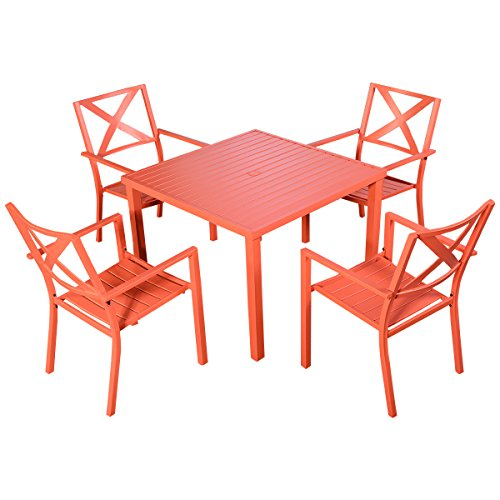 Giantex Patio Orange Steel Outdoor Square Dining Table Furniture Garden With 4 Chairs Table