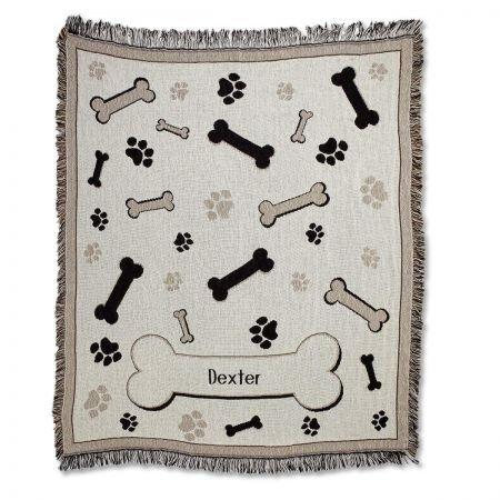 (Lillian Vernon Personalized Bones and Paw Prints Pet Cotton Throw - 60