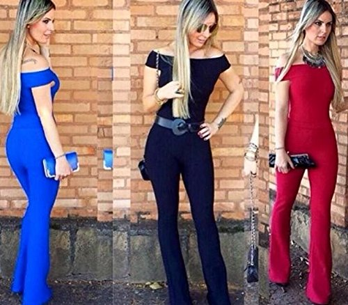 Aro Lora Women's off-Shoulder Bodycon Long Pants Slim Party Club Jumpsuits Rompers Large Red