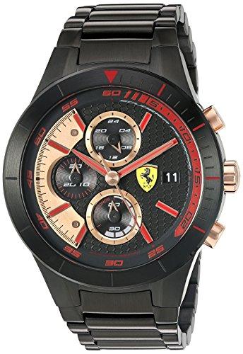Ferrari-830305-RED-REV-EVO-CHRONO-Quartz-Black-IP-Stainless-Steel-Watch