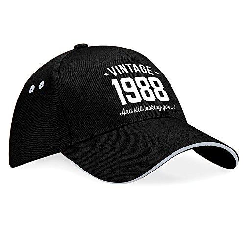 Regalo de 30 cumpleaños, 30 cumpleaños, regalo de cumpleaños para hombre, regalo de 30 cumpleaños para mujer, cumpleaños de 1988, vintage gorro, gorra de béisbol, tela, Black (Grey Trim), talla única Black (Grey Trim)