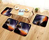 Leighhome Simple Modern Chair Cushions Cosmos Fantasy Decor Solar Sky Nebula Orbit Comet Horizon System Reusable Water wash W27.5 x L27.5/4PCS Set