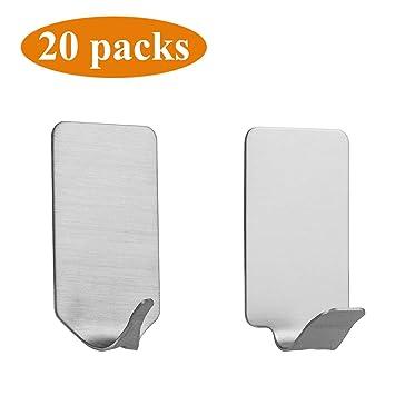Amazon.com: Ganchos adhesivos de acero inoxidable., Acero ...