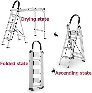 Escalera De Secado De 4 Pasos Plegables Escalera,casa Aluminio Escalera Multiusos Ropa Drying Escalera Portátil Escaleras De Mano Para Inicio Cocina Garaje-a: Amazon.es: Bricolaje y herramientas