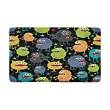 InterestPrint Cute Monsters with Stars Indoor Entrance Doormat Rubber Backing 30 X 18 Inches