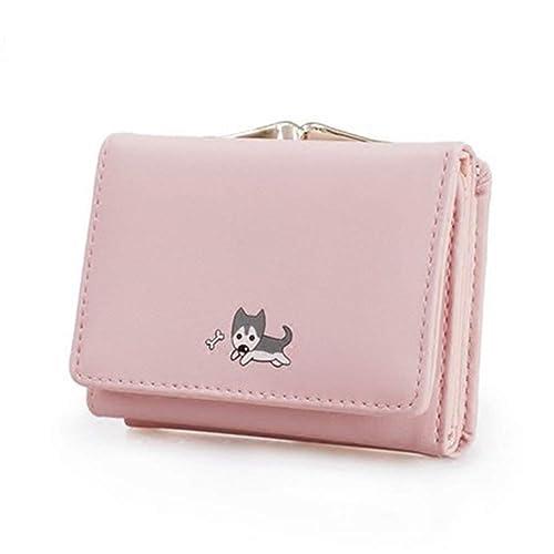 e0238e981051 [QIFENGDIANZI]三つ折り財布 レディース いぬ柄 かわいい ミニ財布 がま口 大容量 小銭