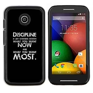 EJOOY---Cubierta de la caja de protección para la piel dura ** Motorola Moto E ** --disciplina negro texto negro mensaje inspirador
