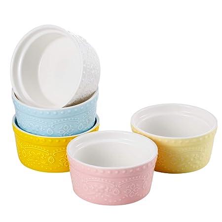 Sumerflos 6 oz porcelana Ramekins, Souffle Platos – para hornear ...