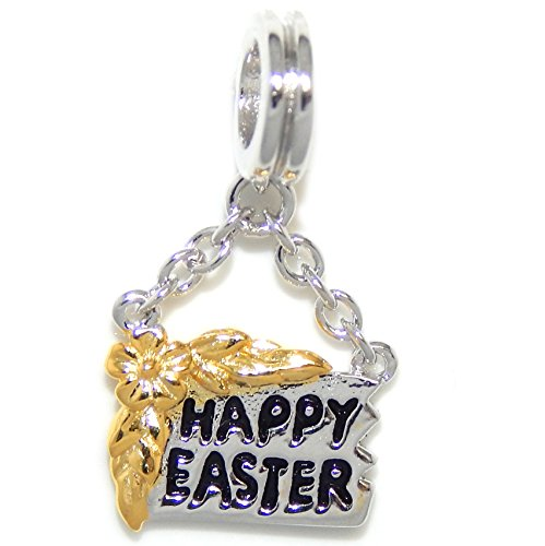 "Solid 925 Sterling Silver Dangling ""Happy Easter Sign w/ Gol"