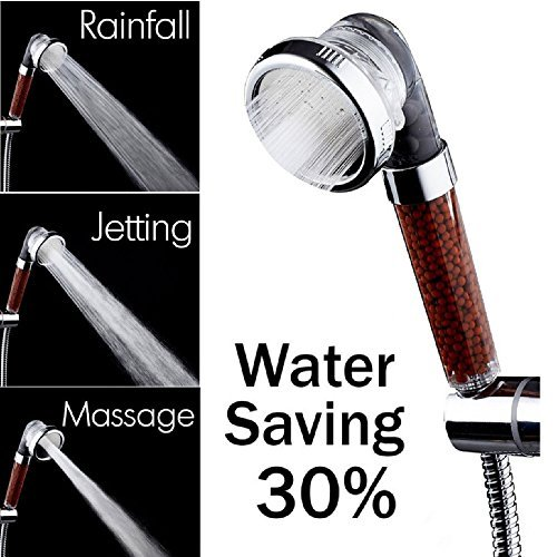 Negative Ionic Pure Filtered Shower Head, 200% High Pressure & 30% Water Saving, Anion Mineral Energy Balls Hair Skin SPA Filtration, 3 Control Modes as Rainfall, Jetting, Massage