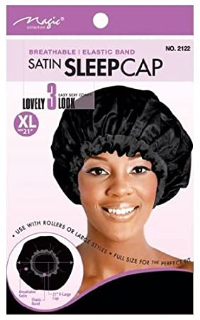 [Magic Collection] 21 Extra Large Elastic Band Satin Sleeping Caps, , Comfortable material, breathable material, elastic band, comfortable, perfect fit, full size, keeps hair in place, use with hair rollers, hair styles, large, extra large, adults and kids