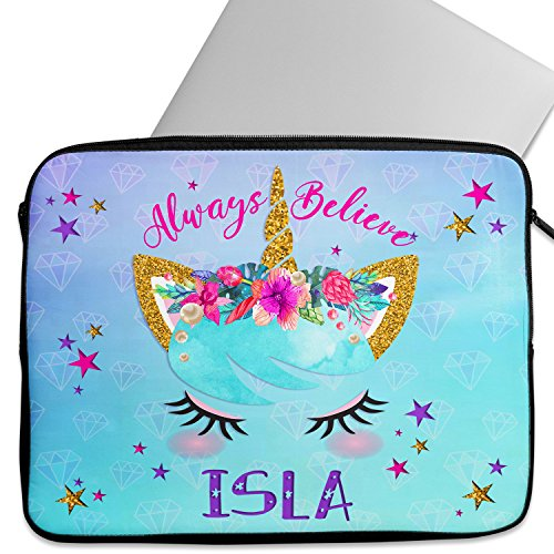 KRAFTYGIFTS Personalised UNICORN FACE 12″ – 14 Laptop Sleeve Pretty Neoprene Girls Work School Travel Cover Bag Universal Case Inch Tablet KS33 – ADD NAME