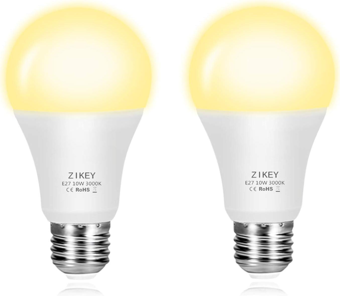 ZIKEY Bombilla Sensor Crepuscular, E27 10W Bombilla Led de Luz Sensor Dia y Noche encendido/apagado automático, Blanco Cálido 3000K 800lm - 2 Unidades