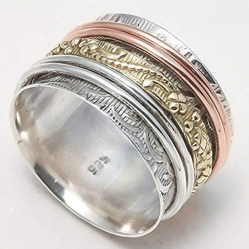Thumb Ring Spinner Ring Meditation Ring Worry Ring Wide band Ring Anxiety Ring Sterling Silver Ring for Mother Women Ring