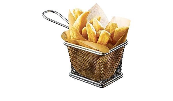 4 x Mini cromado cesta de freidora de servir para freír, ideal para ...
