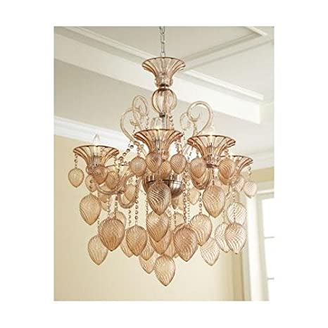 Horchow Lighting Chandeliers On Hollywood Regency Blush Pink Hand Blown Glass Chandelier Light Chic