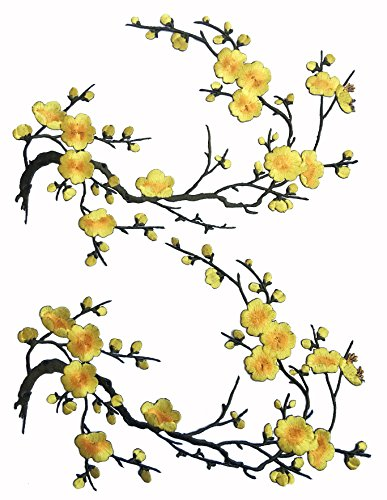 Two Asian Cherry Blossom Sakura Flower Iron on Embroidered Appliques Patch Japanese Chinese (Bright Yellow) (Cut Yellow Flowers)