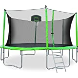 Cheap Merax 12-Feet Round Trampoline with Safety Enclosure, Basketball Hoop and Ladder (12 FT)