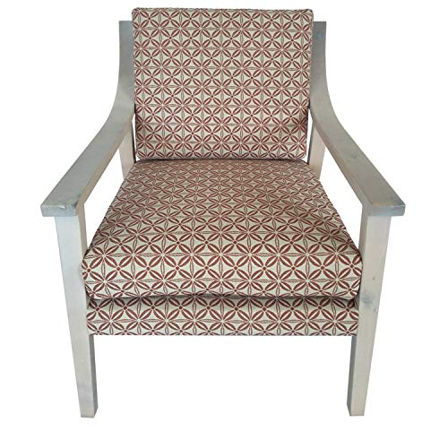 Isabelle Orange Upholstered Pattern Wood Arm Chair Ikat Traditional Removable Cushions (Ikat Chairs Upholstered)