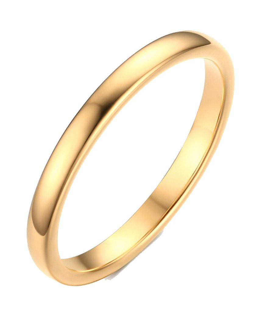 2mm Women's Tungsten Carbide Plain Band Engagement Wedding Ring,Gold Plated,Size 7