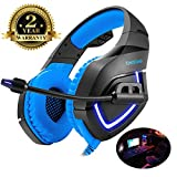 Gaming Headset for PS4,PC,Xbox One, Laptop with Mic Sound Clarity Noise Isolation LED Lights Headphone Soft Comfy EarPads with Volume Control Omnidirectional Microphone Gamer for Smartphone,Computer