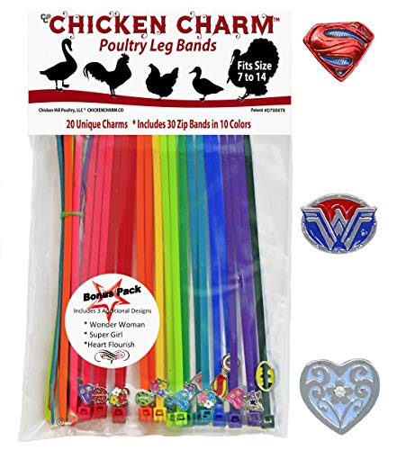 20 Chicken Charm Poultry Leg Bands - Includes Americas Favorite Super Hero's from Chicken Hill