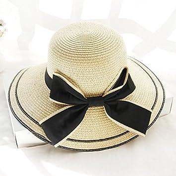 f4de1d5d9 LOF-fe Mujer Verano Sombrero para el Sol Playa de Pajarita,Sombrero de Paja  Moda al Aire Libre Playa,Beige: Amazon.es: Deportes y aire libre
