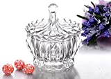 Embossed Glass Candy Dish Bowl with Cover Crystallite