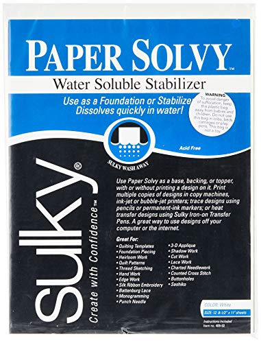 Image of Sulky 409-02 Paper Solvy Water Soluble Fabric Stabilizer, 8-1/2 by 11