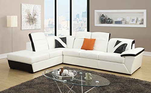1PerfectChoice Sienna White Black Bonded Leather Sectional Sofa