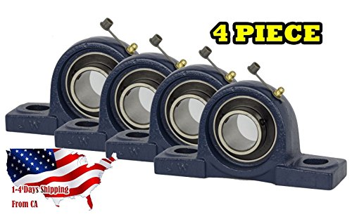 (4 Pieces- UCP206-20, 1-1/4 inch Pillow Block Bearing, Solid Base, Self-Alignment, Brand New by)