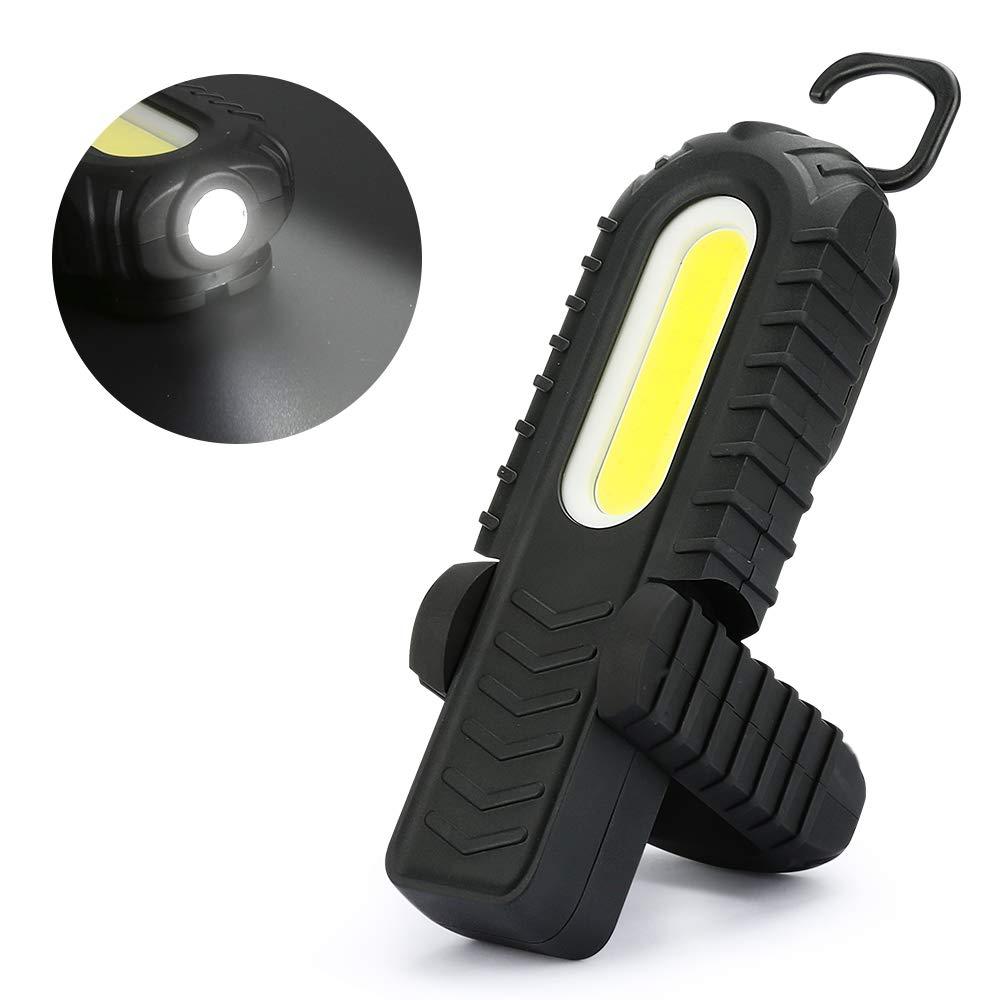 Achort Lampada da Lavoro Torcia a LED Lampada da Lavoro Ricaricabile per Auto 3W Lampada da Campeggio a LED COB con Clip Magnetica e Gancio