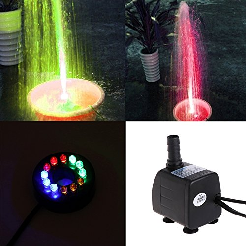 SISHUINIANHUA LED Light Submersible Water Pump Aquariums Fish Pond Fountain Sump Waterfall 10W