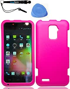 3-in-1 Bundle ZTE N9510 Warp 4G Rubber Hot Pink Case Cover Protector + IMAGITOUCH(TM) Touch Screen Stylus Pen + Pry Tool Case Opener