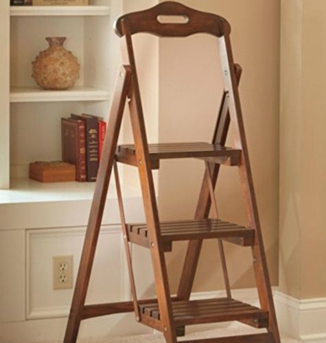 wooden folding ladder stool 3 step walnut finish 48 pine wood buy online in uae products. Black Bedroom Furniture Sets. Home Design Ideas