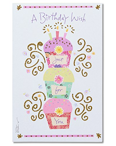 American Greetings Cupcakes Birthday Card with Glitter