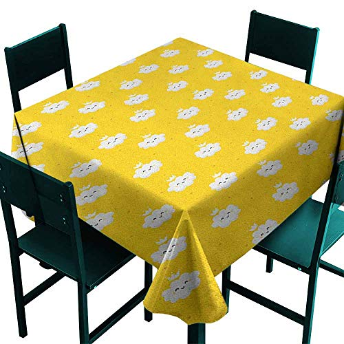 Sunnyhome Resistant Table Cover Yellow and White Cute Cloud Princesses with Crown on Star Patterned Background Dinner Picnic Table Cloth Home Decoration 36x36 Inch Earth Yellow White