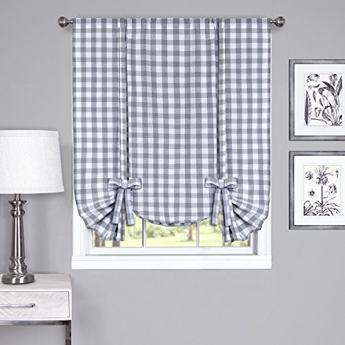 Up Lined Tie Valance - Achim Home Furnishings Buffalo Check Window Curtain Tie Up Shade, 42