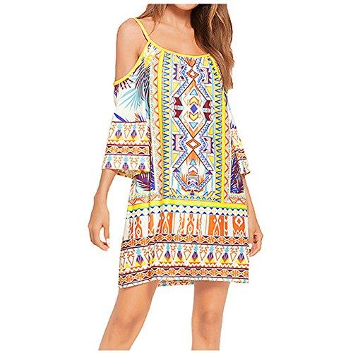 LYQ 1801 Swing Cold Midi Dresses AISKLY Summer Pockets s Women with Shoulder Bohemian Dress qO1nUZ7wx