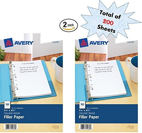 - Avery Mini Filler Paper, 5.5 x 8.5 Inches, 200 Sheets (14230)