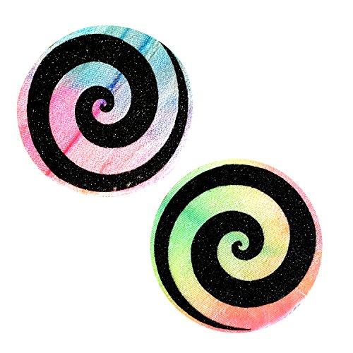 Neva Nude Black Glitter Spiral on TieDye Velvet Nipztix Pasties Nipple Covers (Tie Dye Velvet)