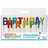 "Amscan 170444 Happy Birthday Glitter Pick Candles, 2 1/4"", Multicolor"