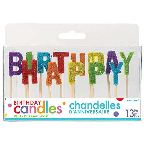 Amscan 170444 Happy Birthday Glitter Pick Candles, 2 1/4