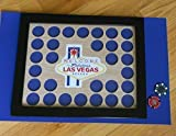 Poker Chip Display Frame Fits 30 poker chips Vegas emblem Laser-cut wood insert with Handcrafted Black frame