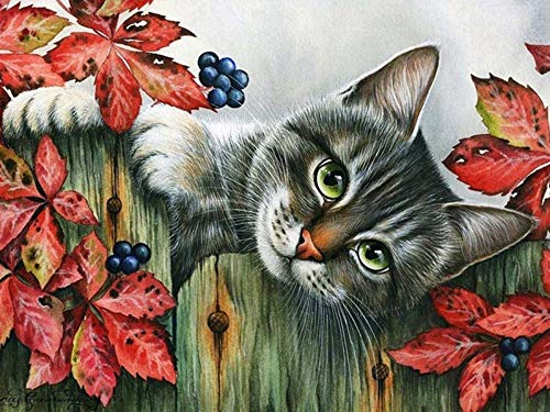 Werewtr Diamond Drawing New DIY Diamond Painting Cats Kneeling On Fence Full Square/Round Diamonds Embroidery for Living Room Home Decor,60Cmx70Cm]()