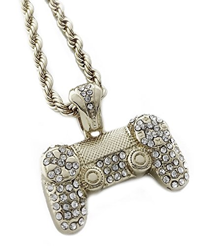 United Bling Iced Out Game Controller Pendant Necklace with 24