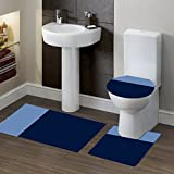 GorgeousHomeLinen (#7) 2 Tone NAVY/LIGHT BLUE 3pc Bathroom Set Bath Mat Contour and Toilet Lid Cover with Rubber Backing Rugs