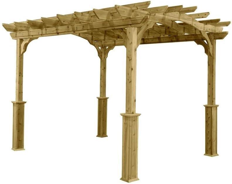 Jardín Pérgola 10 pies x 12 pies, fabricado de madera natural de cedro con diseño de arco. Viene con Kit: Amazon.es: Jardín